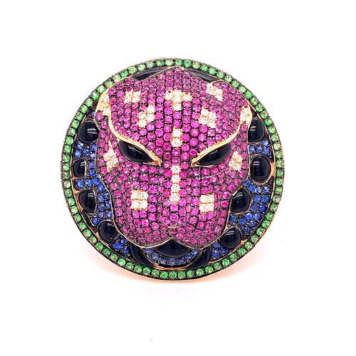 18K Ruby, Emerald, Sapphire, Diamond Tiger Ring