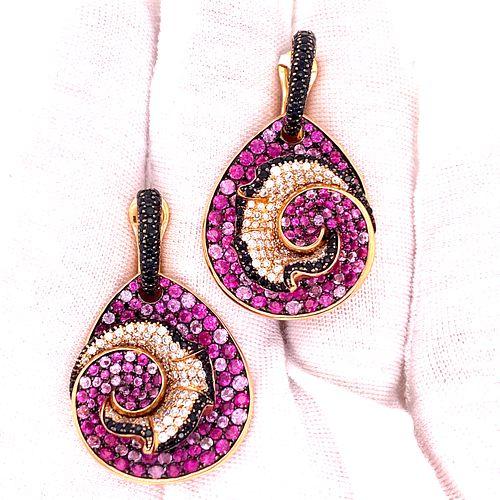 SALAVETTI 18K Pink Sapphire Diamond EarringsÊ