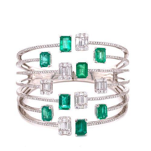 18K Emerald Diamond BraceletÊ