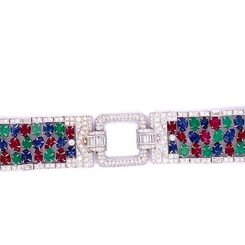 TuTTi FruTTi 18k Sapphire Emerald Ruby Diamond BraceletÊ