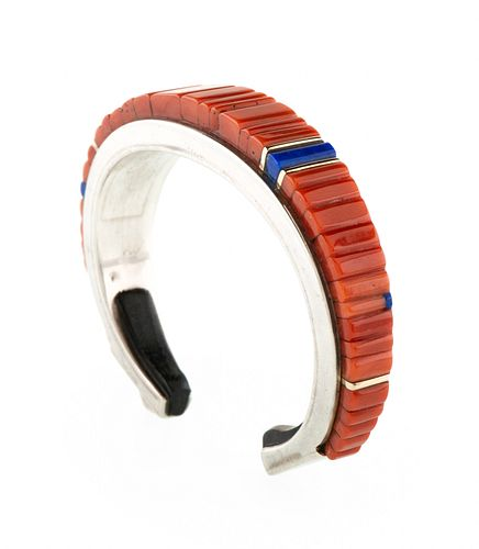 Charles Loloma (Hopi, 1921-1991) Silver, Coral, Lapis, and Ironwood Cuff Bracelet, with Gold Accents Lot is located and will ship from Denver, Colorad