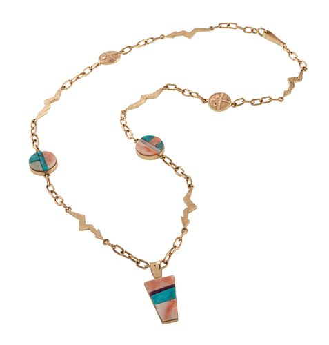 Don Supplee (Hopi, b. 1965) 14k Gold Tufa Cast Necklace, with Turquoise, Coral, Opal, and Sugilite Lot is located and will ship from Denver, Colorado