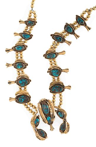 Southwestern 14k Gold Squash Blossom Necklace, with Bisbee Turquoise Lot is located and will ship from Denver, Colorado length 30 inches, weight 190.3
