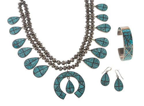 Zuni Silver Squash Blossom Necklace, Earring, and Cuff Bracelet SuiteLot is located and will ship from Cincinnati, Ohio.