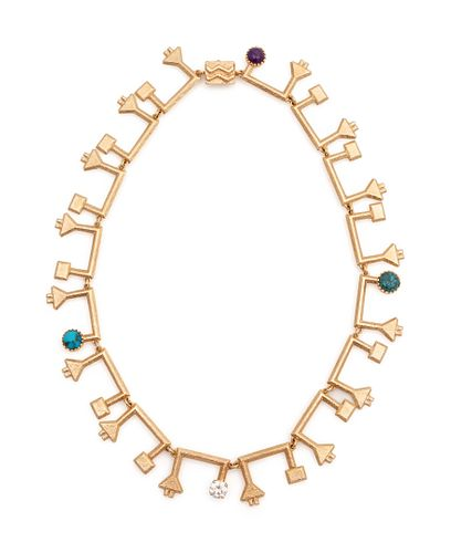 Larry Golsh (Pala Mission/Cherokee, b. 1942) 14k Gold Tufa Cast Necklace with Turquoise and Diamonds, Matching EarringsLot is located and will ship fr