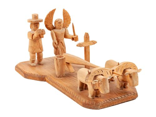 George Lopez (New Mexcian, 1900-1993) Lot is located and will ship from Denver, Colorado.Saint Isidore