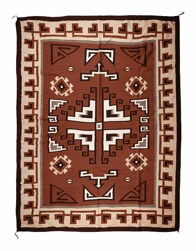 Carolyn Segay (Dine, 20th century) Navajo Two Grey Hills WeavingLot is located and will ship from Denver, Colorado.