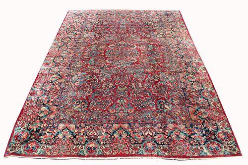 Large Antique Full-Pile Persian Sarouk Rug