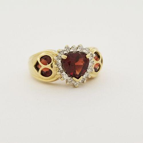 10K Gold Red Garnet Heart Shaped Ring