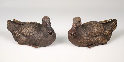 (2) Chinese Shiwan Ceramic Duck Figures, Signed