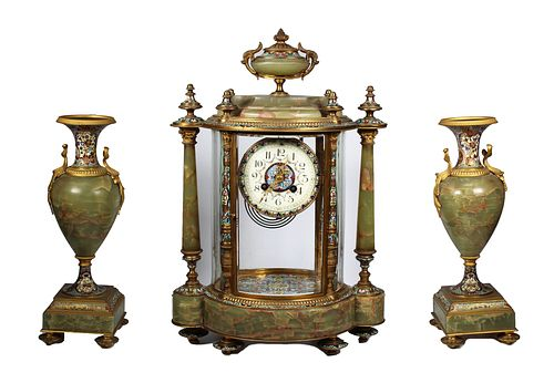 Important Tiffany & Co. Champleve 3 Pc Clock Set