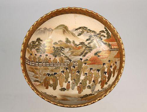 Japanese Satsuma Porcelain Bowl, Signed