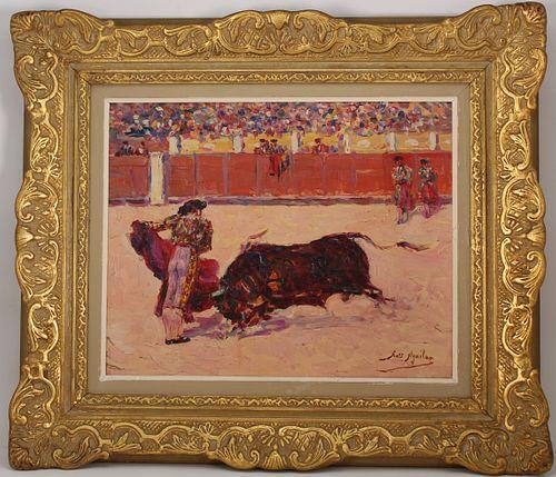 Spanish School Bull and Matador Painting, Signed