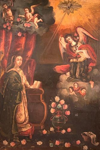 18thc. Spanish Colonial School, Annunciation