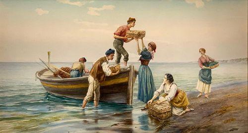 Pietro Gabrini Watercolor, Return of the Fishermen