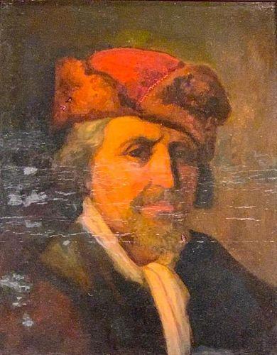 19thc. German School Oil, Portrait, Gentleman in Red Hat