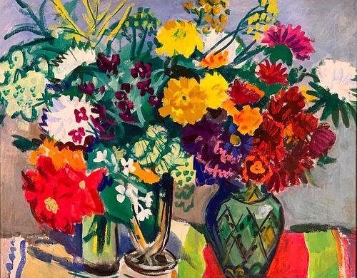 Sergei Missan Oil, Still Life of Flowers, Three Vases, 1963