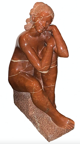 Luis Sanguino, Carved Red Marble Nude