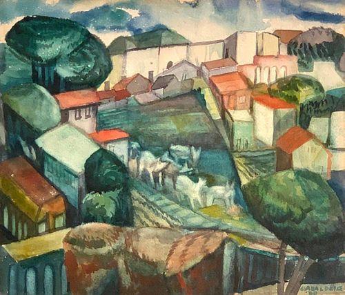 Clara Deike Watercolor Burros Donkeys Cuernavaca Mexico,1930