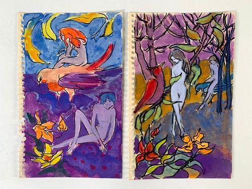 Algesa O'Sickey Watercolors, Woodland Sprites and Birds