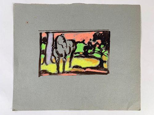 Algesa O'Sickey Watercolor, Horses and Rider in Landscape