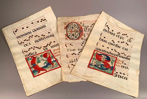 Five Double Sided Antiphonals on Vellum, Spain,16thc.