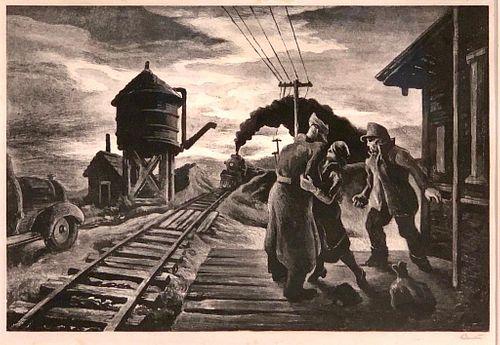 Thomas Hart Benton Lithograph, Morning Train