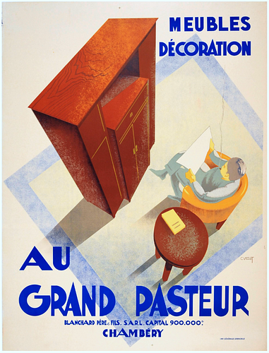 Au Grand Pasteur French Deco Poster by Charles Villot, ca. 1953