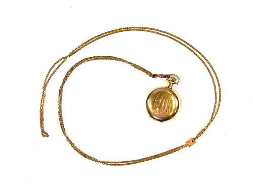 Ladies Yellow Gold Pocket Watch on Chain