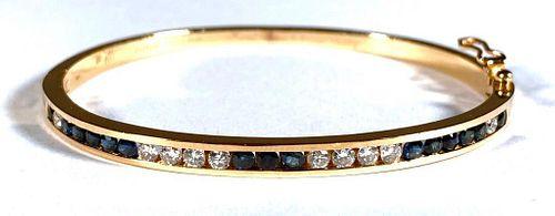 Ladies 14K Yellow Gold Diamond and Sapphire Bangle Bracelet