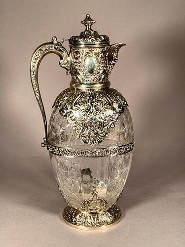 Sterling Silver and Engraved Crystal Claret Jug