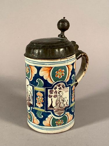 A Continental Faience Pewter Mounted Tankard, 18thc.Chinoiserie
