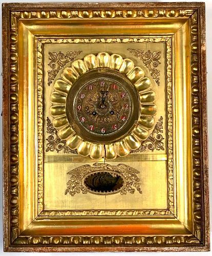 French Empire Wall Clock in Gilded Frame, Japy Feres & Cie, 19thc.