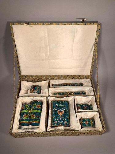 Chinese Cloisonne Desk Set, Retailed by Maitland Smith
