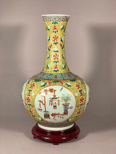 Large Chinese Famile Jaune Vase, Late 19th Century