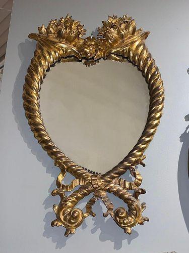 Antique American Classical Giltwood Cornucopia Mirror