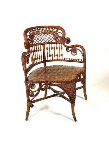 Edwardian Wicker Corner Chair