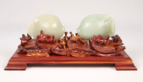 Pair of Jade Fish on Wooden Stand