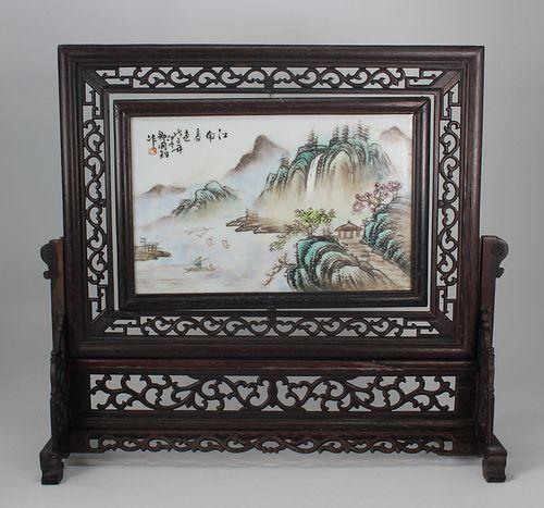 Signed, Chinese Porcelain Landscape Plaque