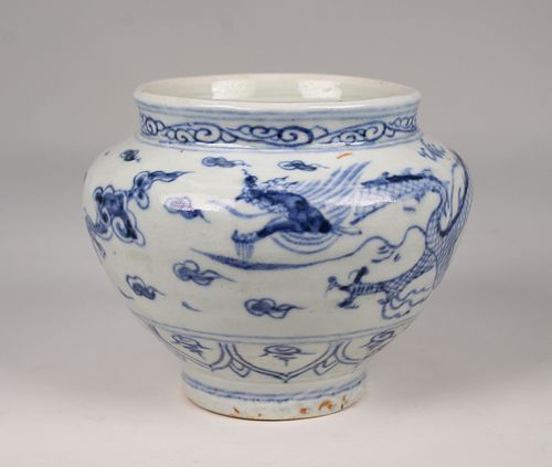 Chinese, Blue/White Dragon Vase