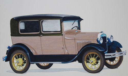 Robert Seabeck (B. 1945) 1928 Model a Tudor Sedan