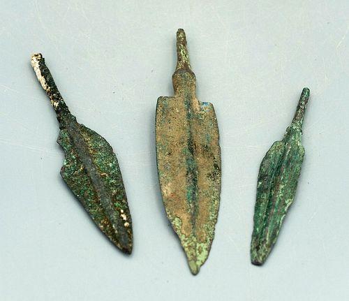 (3) Bronze Luristan Arrowheads, ca. 800 - 600 BC