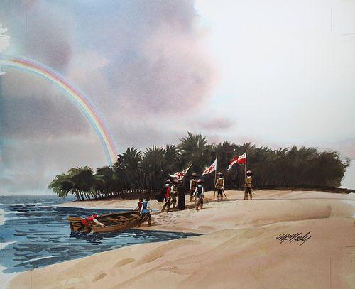 Tom McNeely (B. 1935) Columbus Coming Ashore