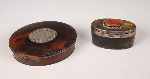 18th C Turtle Shell Box & Horn Pill Boxes