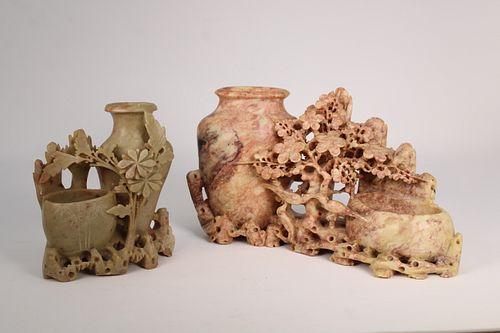 (2) Figural Chinese Carved Stone Brushwashers