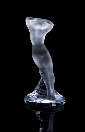 A Lalique Molded and Frosted Glass Figure Height 9 1/4 inches.