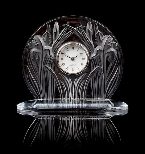 A Lalique Molded and Frosted Glass Desk Clock Height 7 inches.