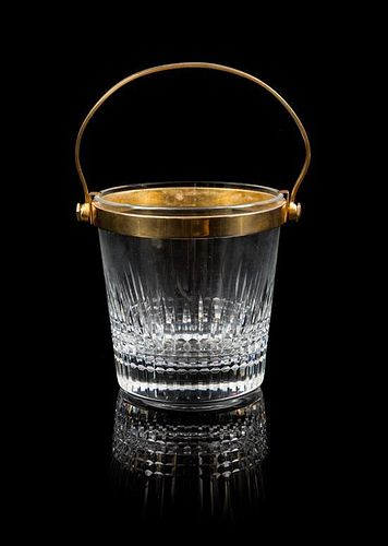 A Baccarat Faceted Glass and Brass Bucket Height 4 1/4 x diameter 4 1/4 inches.