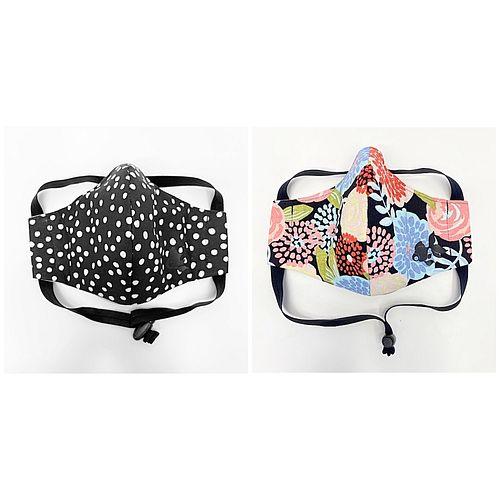 2 Goldyfish Face Masks =1 Black/White Party Dots, 1 Multi-Color Garden Party