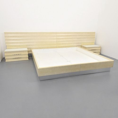 Custom Tommi Parzinger King Bed, Headboard & Nightstands